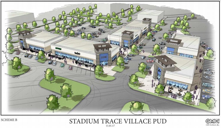 Conceptual rendering of Stadium Trace Village shows walkable, landscaped open shops and restaurants