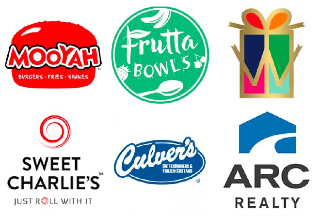 Brandmarks of stores coming to Stadium Trace Village - Mooyah, Frutta Bowls, Sweet Charlie's, Culvers and others